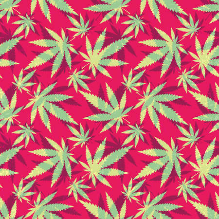 narcotics: Cannabis leaves - seamless pattern Illustration