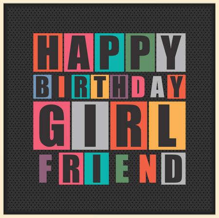 Retro Happy birthday card. Happy birthday Girl Friend. Vector illustration