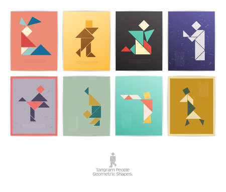 color tangram: Set of eight tangram people. geometric shapes, Decorative banner with tangram people. Vector illustration