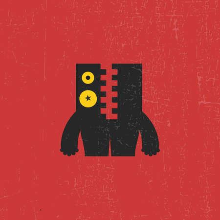 funny monster: Funny monster on grunge background, cartoon illustration, vector