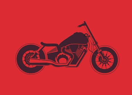 harley: Old vintage bobber bike on red background