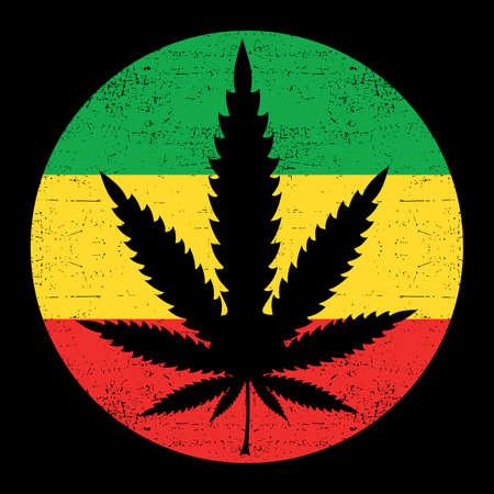rastafarian: Cannabis leaf on grunge rastafarian background circle. Vector illustration