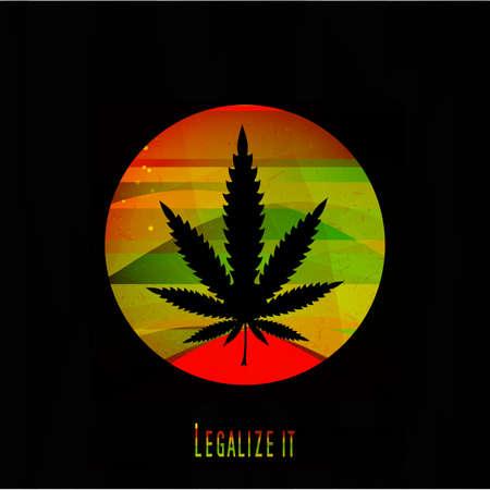 rastaman: Cannabis leaf,  rastafarian background, vector illustration