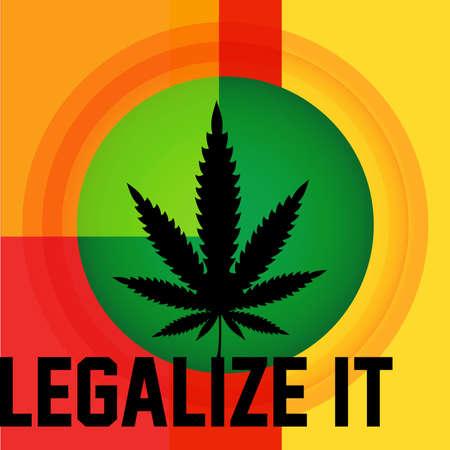 Cannabis leaf,  rastafarian background, vector illustration