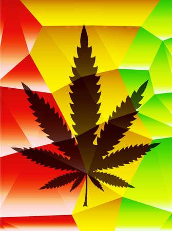 rastafarian: Cannabis leaf, rastafarian polygonal background. vector illustration
