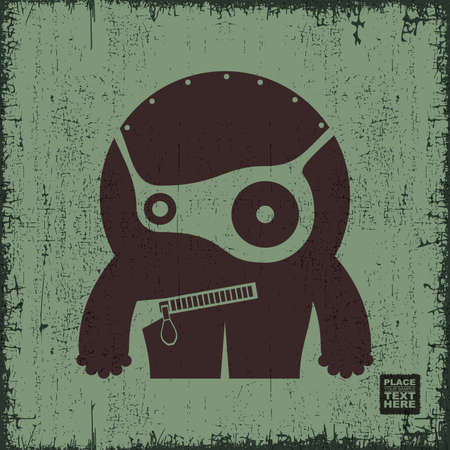 fiend: Monster on grunge background. Cartoon illustration