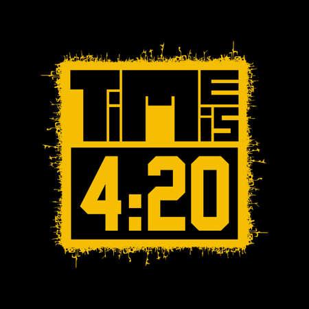 Yellow Time is 420 on black, vector illustration, rastafarian time,