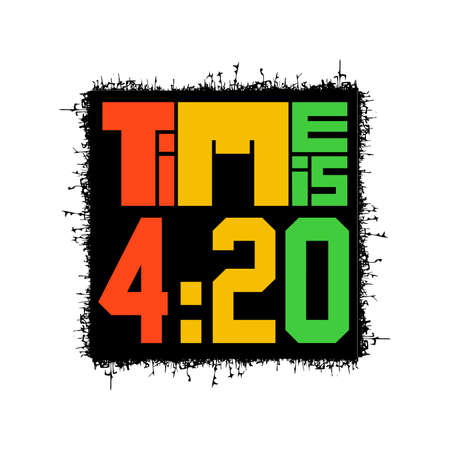 Color Time is 420 on white, vector illustration, rastafarian time,