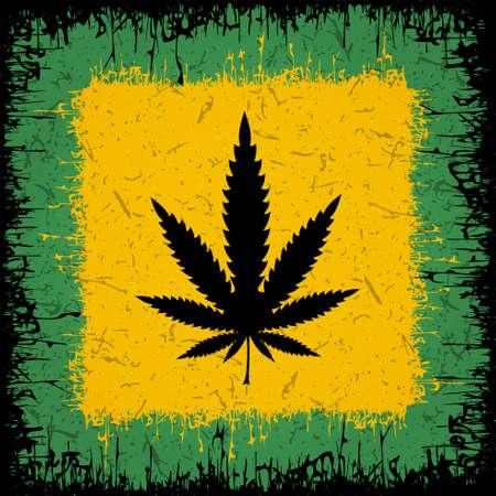 Black Cannabis leaf on rastafarian background. Vector illustration
