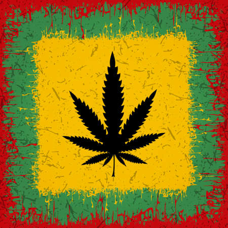 rastaman: Black Cannabis leaf on rastafarian background. Vector illustration