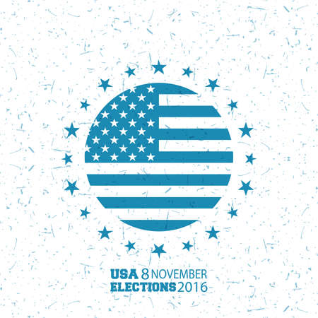 free fall: November 8th, vote day in US, Flag United States of America with grunge on white background. Vector illustration, banner, 2016.