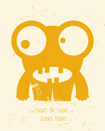 Cute monster on retro grunge background. Cartoon illustration.
