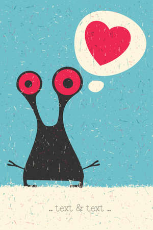 bacteria in heart: Cute Monster with heart on retro grunge background. Cartoon illustration.