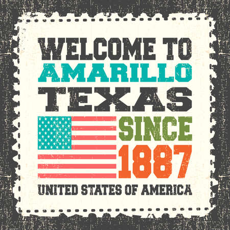 Invitation card with text Welcome to Amarillo, State Texas. Since 1887 with american flag on grunge postage stump. Retro card. Typography design. vector illustration Illustration