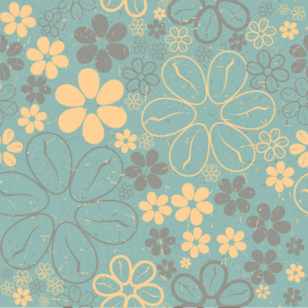Yellow and brown flowers on green grunge background - seamless pattern Illustration