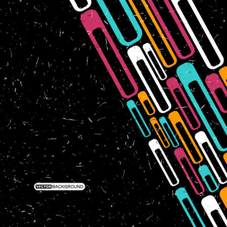 decorative lines: Retro color grunge background with lines and decorative shapes. Vector illustration