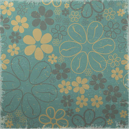 green grunge background: Yellow and brown flowers on green grunge background - seamless pattern Illustration