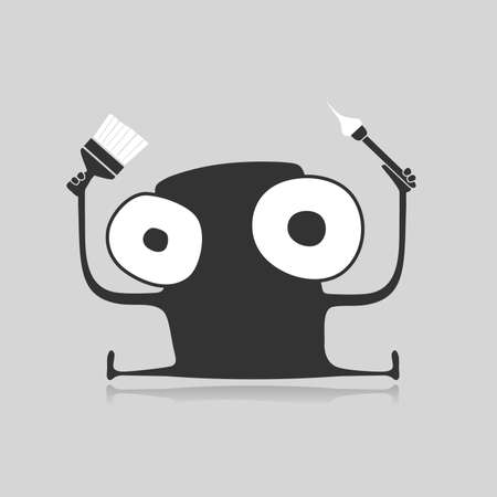 foots: Creative funny monster with brush in hands isolated on grey, cartoon illustration,