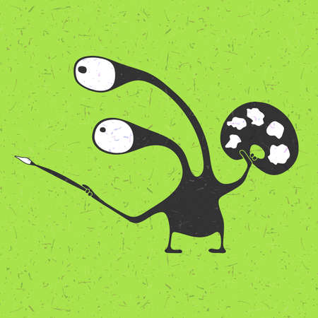 Creative funny monster with brush in hands and Palette of colors on grunge light green background, cartoon illustration,