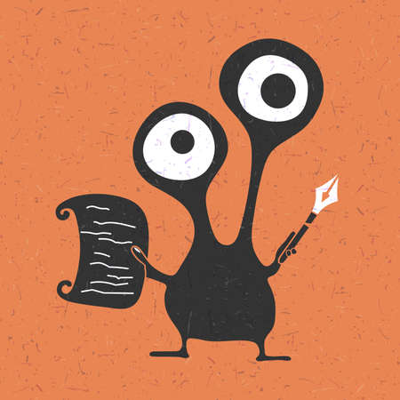 foots: Creative funny monster with pencil in hands and piece of paper on grunge orange background, cartoon illustration,