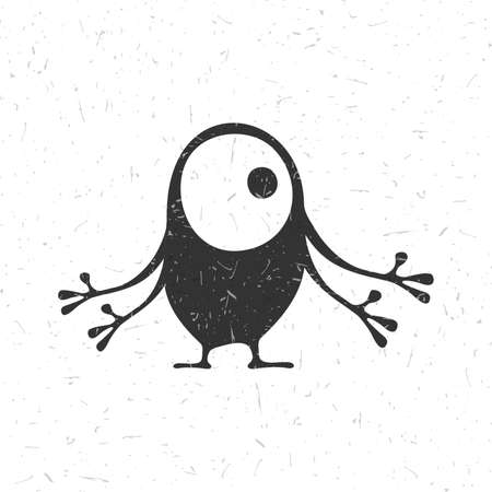 Cute black monster with emotions on grunge white background, cartoon illustration. Illustration