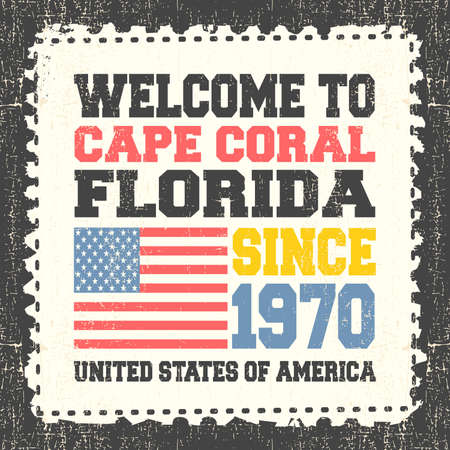 cape: Invitation card with text Welcome to Cape Coral, State Florida. Since 1970 with american flag on grunge postage stump. Retro card. Typography design. vector illustration
