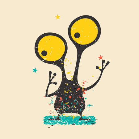 Cute black monster on retro grunge background with dirty color shapes and stars.