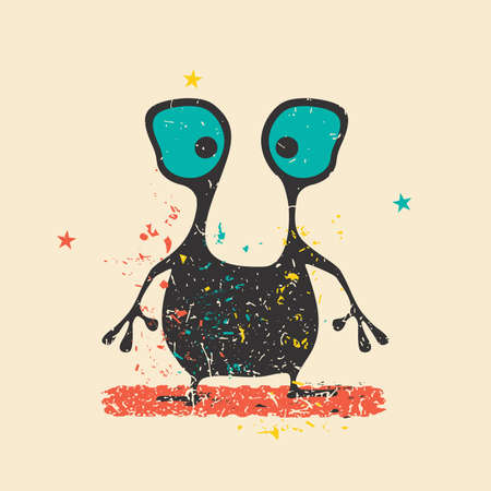 doddle: Cute black monster on retro grunge background with dirty color shapes and stars.