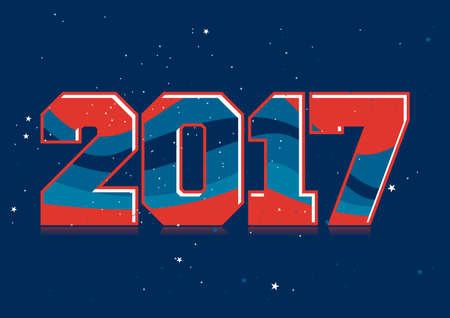 snowflacke: Happy New Year 2017. vector illustration with text and snowflacke Illustration
