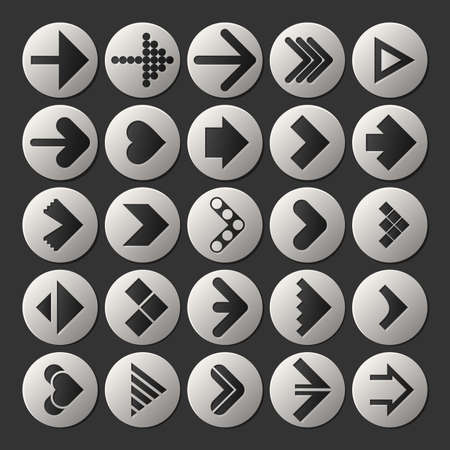 Set of different Arrow icons on black background, Element for different. web objects, kind of design. Next step, button, vector illustration.