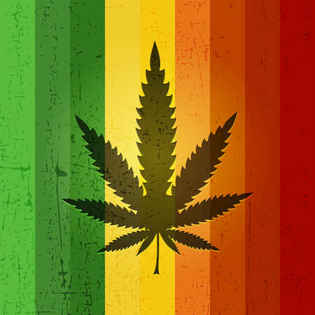 indoor bud: Cannabis leaf on rastafarian color grunge background. Vector illustration