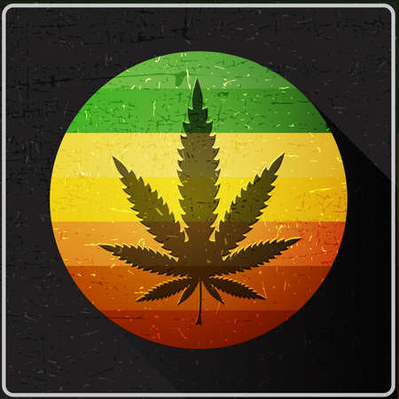 indoor bud: Cannabis leaf on rastafarian color flag inside of circle with flat shadow and grunge shapes, Icon for different use and web design, vector illustration