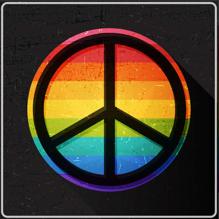 Peace symbol on rainbow flag inside of circle with flat shadow and grunge shapes ,, Icon for different use and web design, vector illustration Illustration