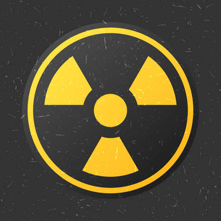 caution chemistry: radiation icon in circle on black grunge background, vector illustration