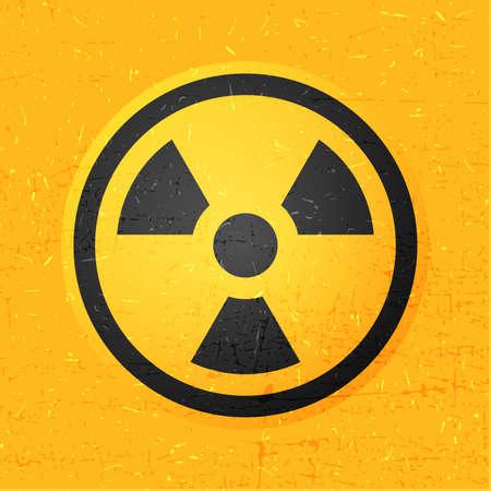 plutonium: radiation icon in circle on yellow grunge background, vector illustration