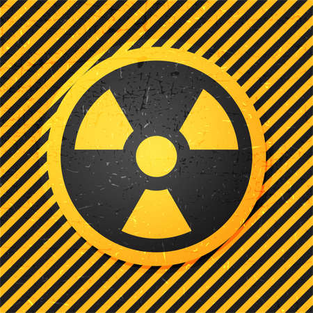 emanation: radiation icon in circle on strip yellow grunge background, vector illustration