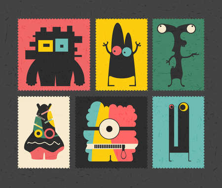 doddle: Set of retro postage`s stamp with funny monsters on different color background,. Cartoon illustration.