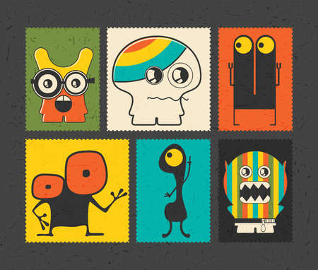 doddle: Set of retro postage`s stamp with funny monsters on different color background ,. Cartoon illustration.