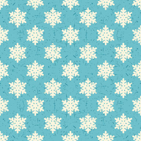 packing paper: White snowflakes on blue background with grunge shapes. New Year and Christmas seamless pattern. Packing paper for gifts and different use. Illustration