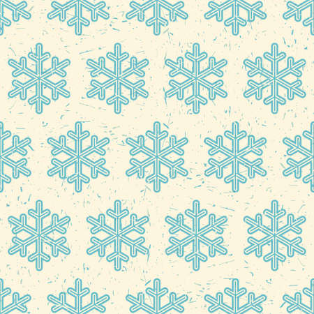 packing paper: Blue snowflakes on desert yellow background with grunge shapes. New Year and Christmas seamless pattern. Packing paper for gifts and different use. Illustration