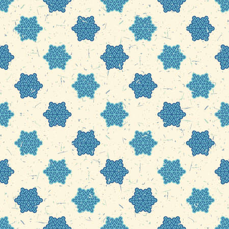 packing paper: Light and dark blue snowflakes on desert yellow background with grunge shapes. New Year and Christmas seamless pattern. Packing paper for gifts and different use.