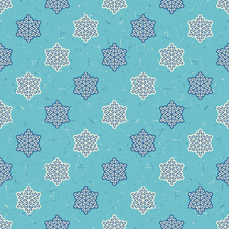 packing paper: White and dark blue snowflakes on light blue background with grunge shapes. New Year and Christmas seamless pattern. Packing paper for gifts and different use.
