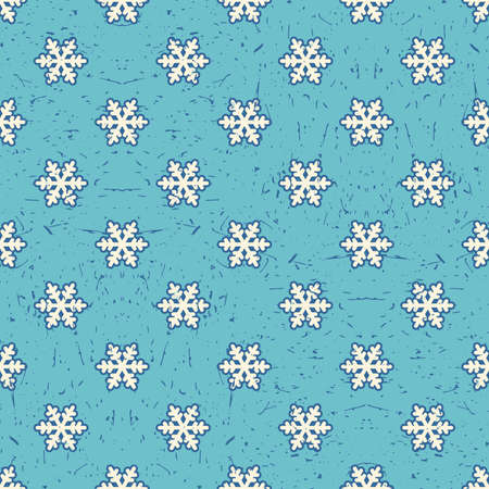 packing paper: White snowflakes on light blue background with grunge shapes. New Year and Christmas seamless pattern. Packing paper for gifts and different use.