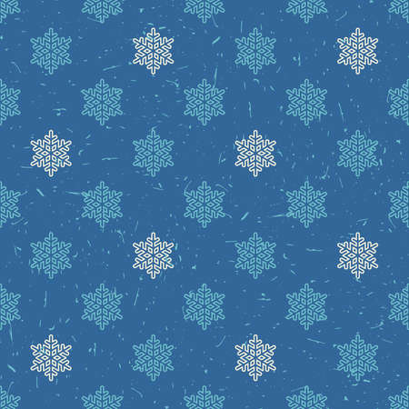 packing paper: White and light blue snowflakes on dark blue background with grunge shapes. New Year and Christmas seamless pattern. Packing paper for gifts and different use.