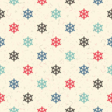 packing paper: Colorful snowflakes on desert yellow background with grunge shapes. New Year and Christmas seamless pattern. Packing paper for gifts and different use. Illustration