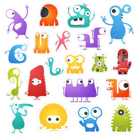 Set of twenty colorful pretty monsters isolated on white with border for cutting. Funny character stickers, cartoon illustration. printable, vector.