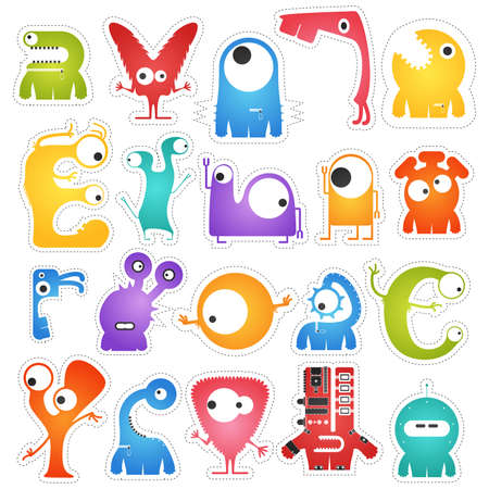 cute ghost: Set of twenty colorful pretty monsters isolated on white with border for cutting. Funny character stickers, cartoon illustration. printable, vector.