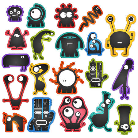 Set of twenty cute black monsters on color background isolated on white with border for cutting. Funny character stickers, cartoon illustration. printable, vector.