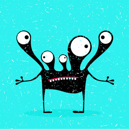 Cute black monster with emotions on grunge blue background. cartoon illustration. Illustration