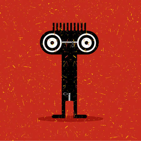 Cute black monster with emotions on grunge red background. cartoon illustration. Illustration